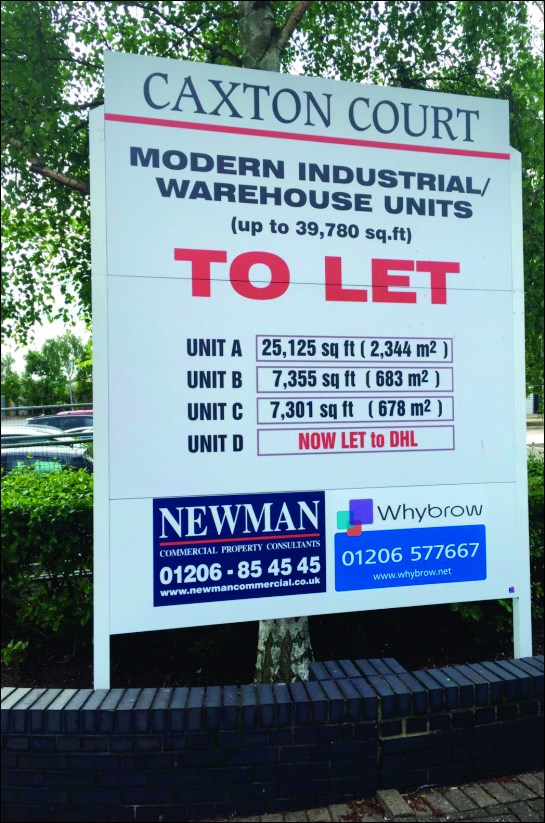 3m x 2.4m siteboard at the entrance to Caxton Court, Colchester