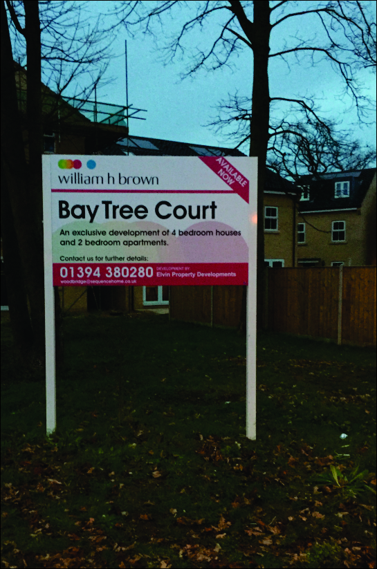 Site board with curved top section for Colchester Business Park